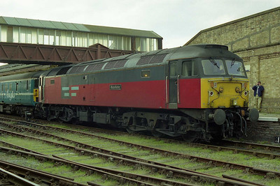 47766 'Resolute' is pictured again on arrival at Workington with 1Z72. At this time the ban on charter trains running between here and Carlisle had been reimposed after it was briefly relaxed in 1994, and consequently this was as far as we could go (03/10/1998)