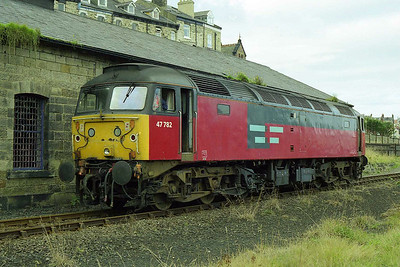 47782 waits for '750 to shunt out of the sidings and attach to the stock before taking its place (10/10/1998)
