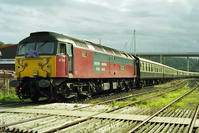 47750 'Royal Mail Cheltenham' is seen stabled in the sidings at Whitby with the stock for the 1Z54 1645 Regency Rail Cruises return charter to Wolverhampton, which it would work forward from Battersby (10/10/1998)