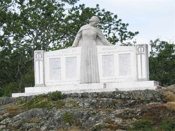 Royal Victoria Marathon Landmarks - 1999 Course - Oak Bay WW2 Memorial - Across from Cattle Point at 23 km