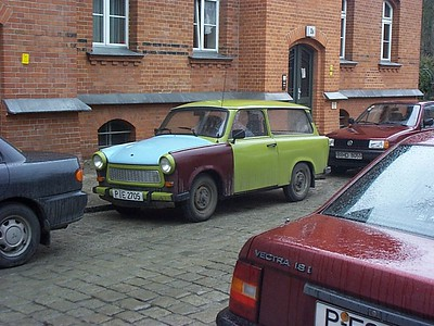 A Trabant. These cheaply-produced cars were a product of East Germany, but their boxy design, two-stroke engines and high pollution levels made them uncompetitive after the Wall came down.