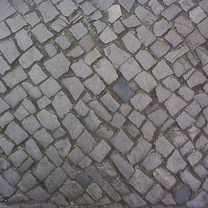 Many of the sidewalks in Berlin are made of cube-shaped cobblestones