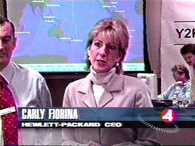 Carly Fiorina had arrived at HP only recently, and stopped by the Y2K Command Center to meet everyone and be interviewed by CNN