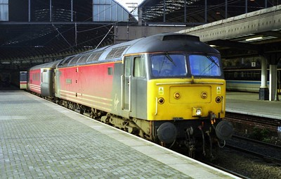 47822 'Pride of Shrewsbury' is pictured on arrival at Newcastle with the SuO 1E25 0855 from Derby (21/01/1999)
