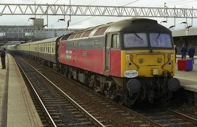 47768 'Resonant' calls at Stafford with 1Z90 0817 Coventry-York Pathfinder charter. The train was steam-hauled over the Pennines (10/04/1999)