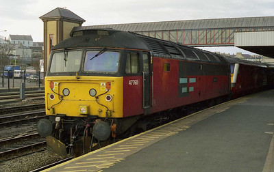 47760 is pictured again at Holyhead before returning to Crewe with 1A75 1610 to London Euston (14/03/1999)