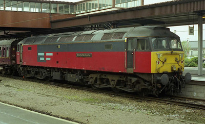 Having run round after arriving from the Harrogate line, 47774 'Post Restante' waits to head north from York with 1Z39 0625 Leeds-Edinburgh Green Express charter (05/04/1999)