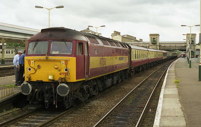 47758 'Regency Rail Cruises' awaits departure from Exeter with 1Z91 1628 return charter to Peterborough (03/07/1999)