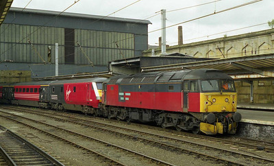 47791 is pictured on arrival at Carlisle with the diverted 1M34 1529 Glasgow-Euston. The Motherwell-based 'sleeper' loco had worked the train over the non-electrified 'G&SW' route via Kilmarnock and Dumfries (25/07/1999)