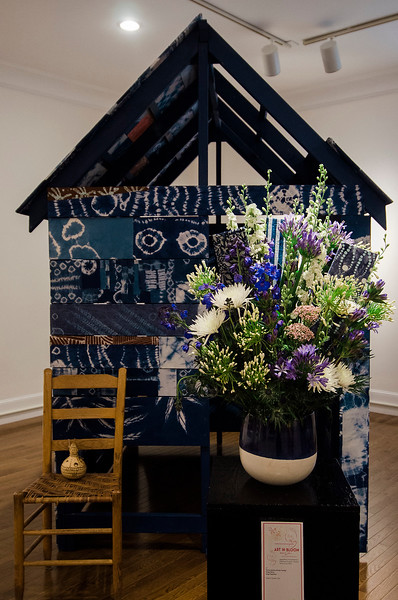 Donna Johnson and Judy Handley's interpretation of  'Indigo Project' on display at Fitchburg Art Museum's 19th Annual Art in Bloom on Friday, March 31, 2017. SENTINEL & ENTERPRISE / Ashley Green
