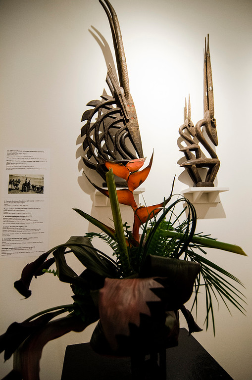 . Birdie Theriault\'s interpretation of  \'Female Antelope Headcrest\' on display at Fitchburg Art Museum\'s 19th Annual Art in Bloom on Friday, March 31, 2017. SENTINEL & ENTERPRISE / Ashley Green