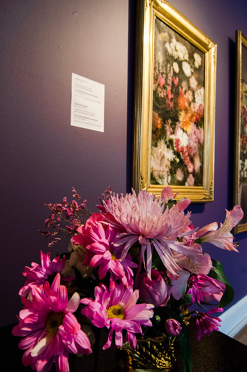 . Leticia Schiavitti\'s interpretation of  \'Garden Flowers\' on display at Fitchburg Art Museum\'s 19th Annual Art in Bloom on Friday, March 31, 2017. SENTINEL & ENTERPRISE / Ashley Green
