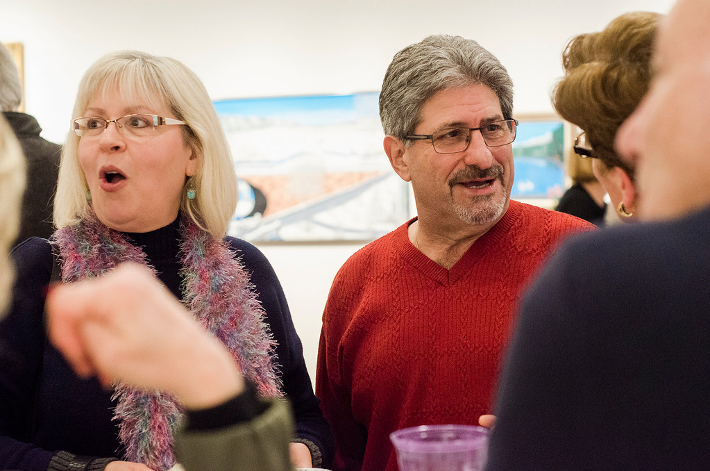 . Mayor Stephen DiNatale and wife Joanne chat with guests during Fitchburg Art Museum\'s 19th Annual Art in Bloom on Friday, March 31, 2017. SENTINEL & ENTERPRISE / Ashley Green