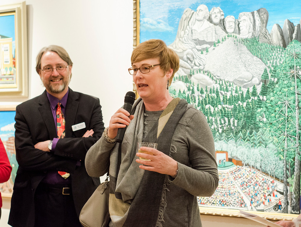 . Lori Krinsky, winner of the Kay Previte Prize, addresses the crowd during Fitchburg Art Museum\'s 19th Annual Art in Bloom on Friday, March 31, 2017. SENTINEL & ENTERPRISE / Ashley Green