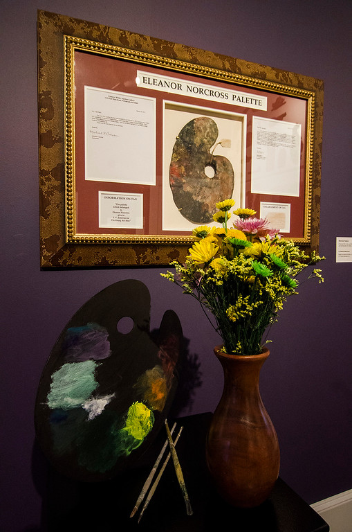. Lucille Maynard\'s interpretation of  \'Norcross Pallette\' on display at Fitchburg Art Museum\'s 19th Annual Art in Bloom on Friday, March 31, 2017. SENTINEL & ENTERPRISE / Ashley Green