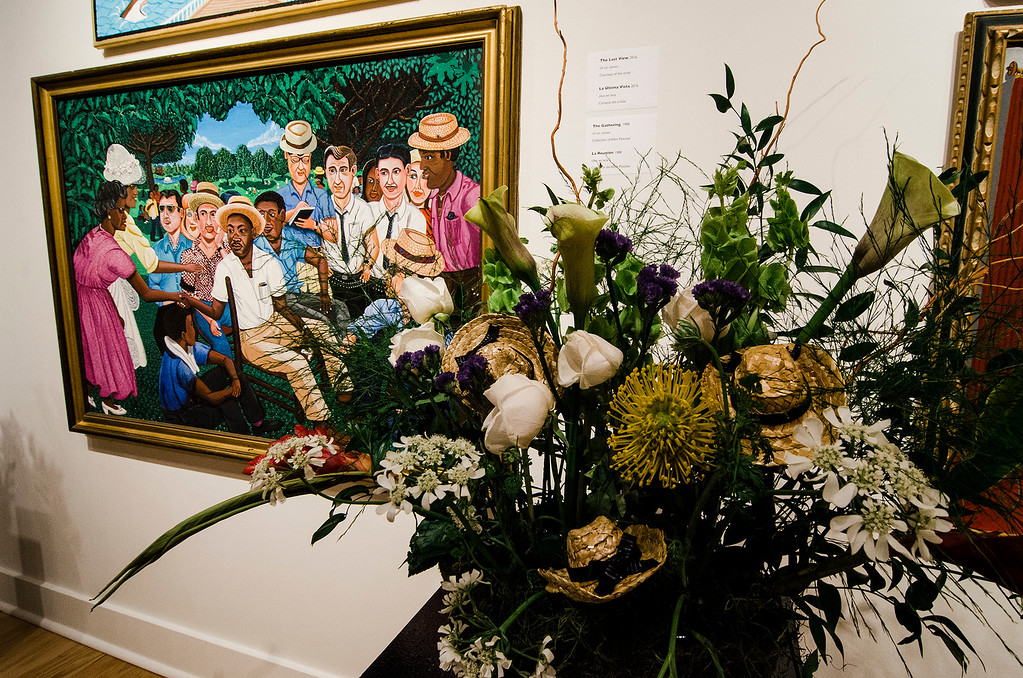 . Jean Belliveau\'s interpretation of \'The Gathering\' on display at Fitchburg Art Museum\'s 19th Annual Art in Bloom on Friday, March 31, 2017. SENTINEL & ENTERPRISE / Ashley Green