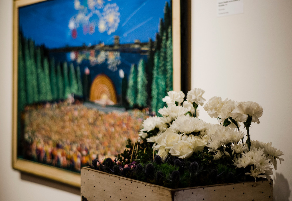 . Sara Grant\'s interpretation of  \'Mr. Reinford\'s World\' on display at Fitchburg Art Museum\'s 19th Annual Art in Bloom on Friday, March 31, 2017. SENTINEL & ENTERPRISE / Ashley Green