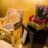 Carlene DeBlois's floral interpretation of 'Egyptian Chair' on display at Fitchburg Art Museum's 19th Annual Art in Bloom on Friday, March 31, 2017. SENTINEL & ENTERPRISE / Ashley Green