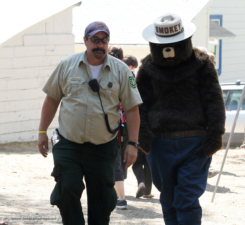 . Smokey Bear makes an appearance at the 19th annual  Berry Creek Berry Festival Saturday August 12, 2017 in Berry Creek, California. (Emily Bertolino -- Enterprise- Record)