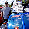 Duwayne Erickson of Raymond NH, stands by his 1973 VW Super Beetle covered with tributes to service persons and victims of NY Twin Tower 9-11 event, one of the victims was his neighbor Betty Ong of Andover she was a flight attendent on the first plane into the number one tower. SUN/David H. Brow