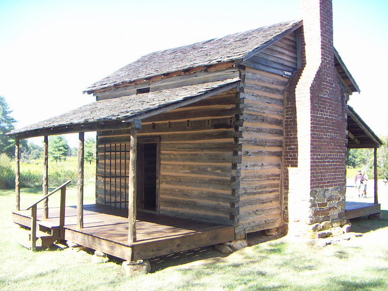 This home is located at the Revolutionary War battle site of Cowpens. in South Carolina.  The house is roughly 120 square feet with a kitchen and fireplace and a very small side bedroom (typically 7'' x 8') .  This style of house was very typical of the late 1700's and the Marks home at Goose Pond would have been very similar if not identical.  Though the Lewis and Marks families were probably financially well above the average families, they still lived a rugged lifestyle during this period.  Glass and windows were just not an option.  Meriwether Lewis probably lived here for four or five years between 1789 and 1794.