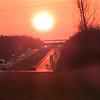 Departing Cairo, Illinois at sunset.