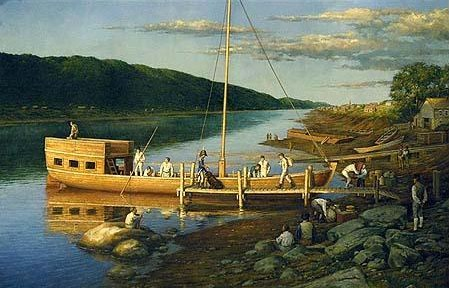 When Meriwether Lewis picked up the keelboat (aka flat bottom barge) in Elizabeth, Pennsylvania (about 22 miles due south of Pittsburg, Pa.).  The first version of the keelboat probably looked like the above painting.  There was no canopy above the captains' quarters on the rear of the boat.  Clark's eventual measurements of the keelboat were 55 feet in length and 8 feet in width.