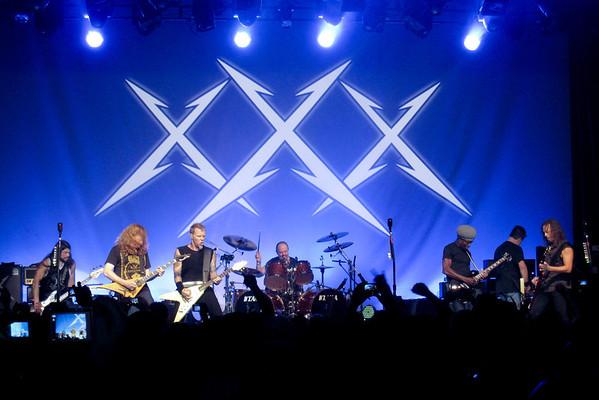 Left to Right:  Rob Trujillo, Mega Dave Mustaine, James Hetfield, Lars Ulrich, Lloyd Grant, Ron McGovney, Kirk Hammett