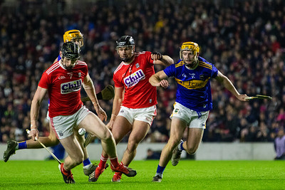 Cork's Damien Cahalane and Colm Spillane in action against Tipperary's Mark Kehoe and Cian Darcy
