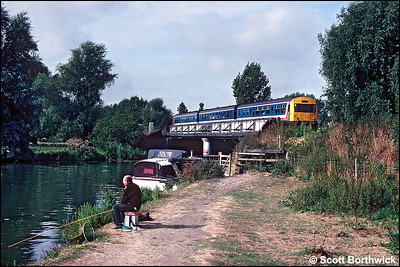 53207/59115/53296 cross the River Great Ouse on the approach to Ely with a Peterborough-Cambridge service on 14/09/1991.