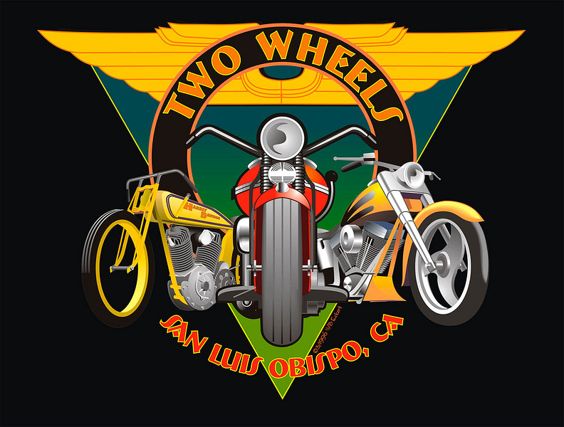 """""""Two Wheels for Harleys"""" Design for T-shirt for motorcycle shop that specialized in all types of Harley Davidsons...very early digital work c. 1996"""