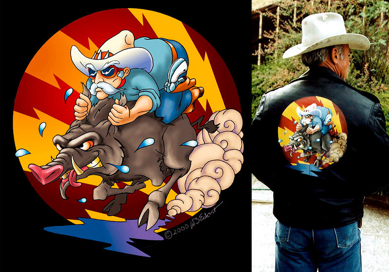 """Boar Hunter"" Original design and painting for Nessen Schmidt of King City, CA by WB Eckert. Acrylic on leather jacket (Concept art and final painting)"