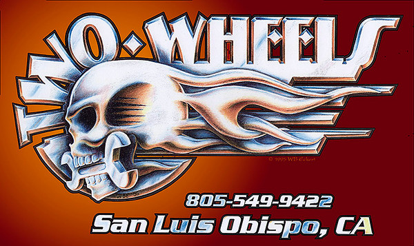 """""""Two Wheels San Luis Obispo"""" T-shirt design. Prismacolor pencil drawing & brush and ink, digitally composited"""