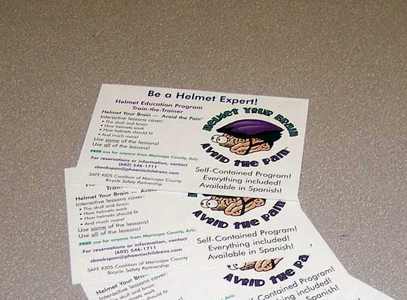 "In Glendale, Arizona, $77,600 was used to assemble and distribute safety and educational materials to all local elementary schools, libraries, and youth organizations. The comprehensive bicycle education program includes materials for teachers and youth leaders to teach 8-13 year olds about bicycle safety. These ""Bike Boxes"" included a step-by-step trainer's manual, instructional equipment, safety videos, a bicycle helmet, children's worksheets, and more. The project was sponsored by the City of Glendale and the project received the Golden Spoke Award for the 2004 Valley Metro Clear Air Campaign."