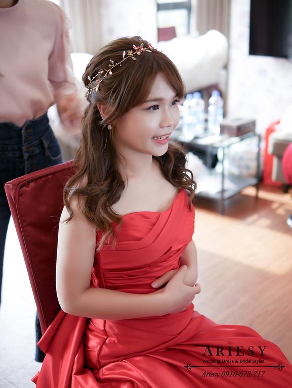 愛瑞思,ARIESY新娘秘書,新秘,送客新娘髮型,公主頭新娘造型,北部新娘秘書,紅色新娘禮服造型