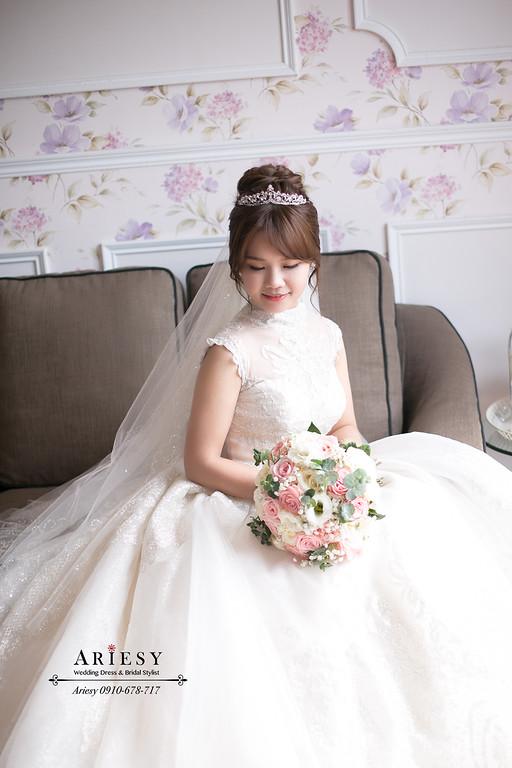 愛瑞思,ARIESY新娘秘書,新秘,公主皇冠白紗進場新娘造型,北部新娘秘書,台北新秘