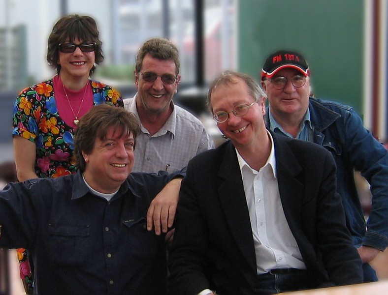 Olivia, Fred Velthuis, Neil Begley (rear), Steven Spink, Simon Smith (front)