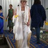 Freda Cook modelling her own garment