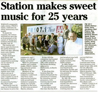 26/7/06 Newspaper coverage of 2AAA's 25th birthday