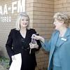 Senator Coonan chats to 2AAA chair Jean Haste