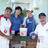 Fred Velthius [L] and Peter Jameison [R] from 2AAA with Lyndel Harrison and Dakin Corcoran [centre, from Maccas]