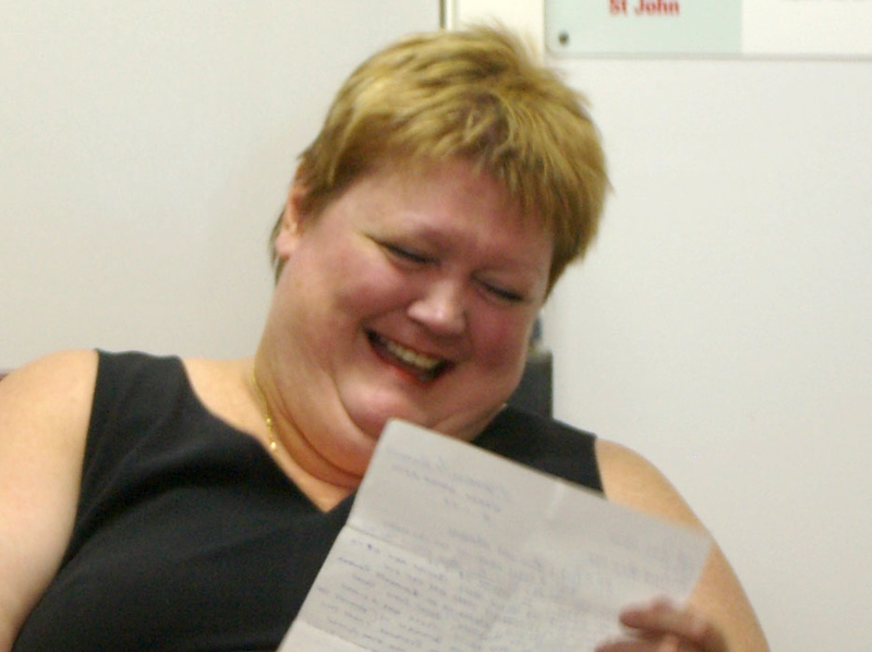 Louise reading another letter about how brilliant the breakfast program is.