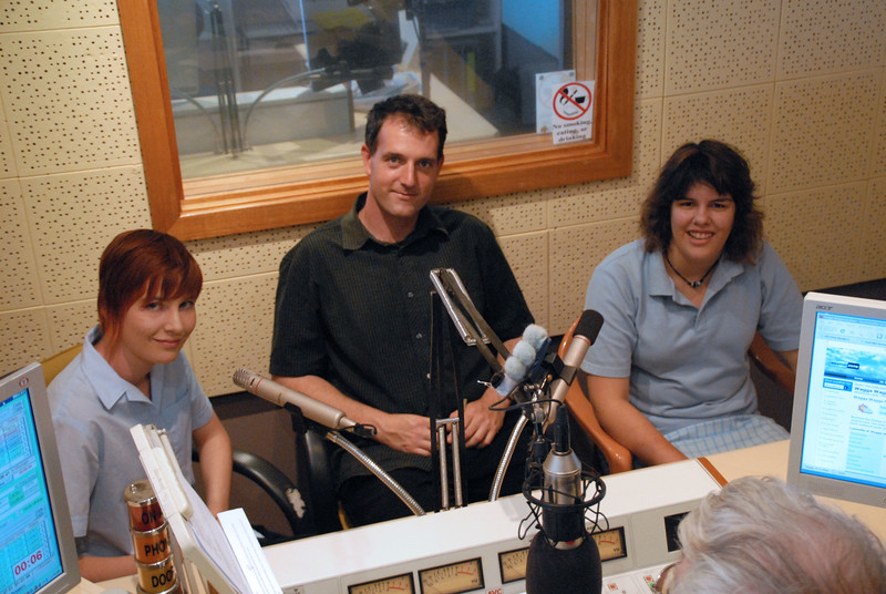 "27/11/09: Wagga High School students Maise Cunningham and Emily Azar along with teacher Angus Lamb came in to talk about their upcoming stage production ""House of Cards"""