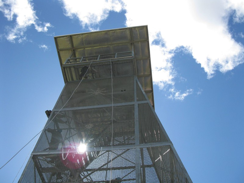 This is the abseil tower that tested many people's fear of heights.