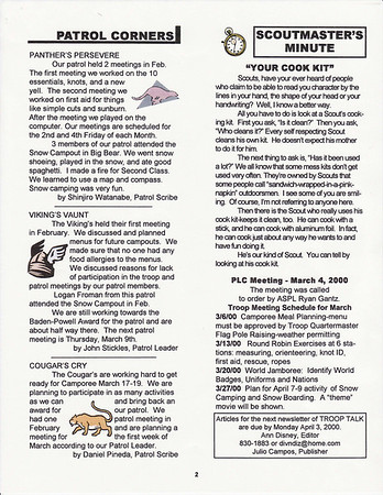 March 2000 Troop Talk - Volume 1, Issue 2