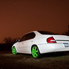 No the wheels are NOT photoshopped! 04+ Sentra wheels painted grabber green. Rocked em for a couple weeks and nabbed this shot at 3AM in the morning.