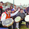 UNBC native drummers in thursday dave milne april 27 00 Nativea attending the Retain 2000 Conference at UNBC participate in a Lahal traditional ceremony outside the University. The ceremony is  a drumming, chanting game used to break the ice when members of different clans get together.  Winners and losers exchange the oportunity to chant and drum and on occasion in the past goods or money has changed hands with the drums as wagers are placed.