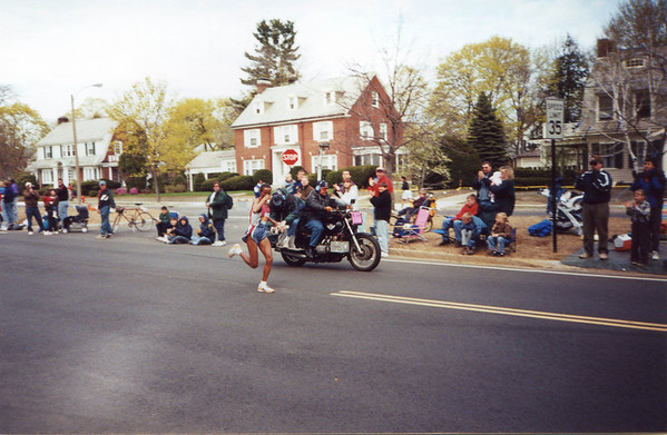 Along Commenwealth Ave. in Newton, the Boston Marathon.