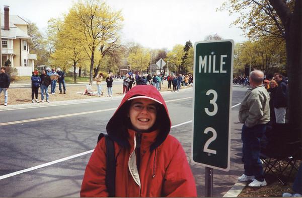 Along Commenwealth Ave. in Newton, the Boston Marathon.
