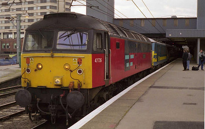I forget the exact details of the shambles en-route, but we missed '1E26' comfortably at Doncaster. Luckily the engineering work overran, and 47726 was called on to drag 1D36 1010 Kings Cross-Leeds back north. The train is pictured on arrival (05/03/2000)